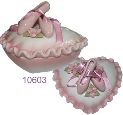 Porcelain Heart Shaped Trinket Box with Ballet Slippers - Nutcracker Ballet Gifts