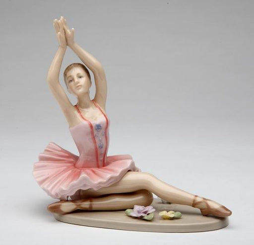Porcelain Ballerina Posing in Pink Tutu Dress Figurine - Nutcracker Ballet Gifts