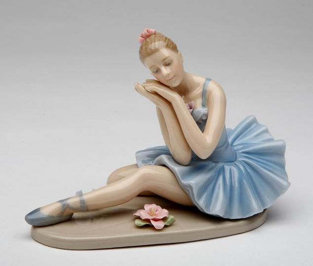 Porcelain Ballerina Dreaming in Blue Dress Figurine - Nutcracker Ballet Gifts