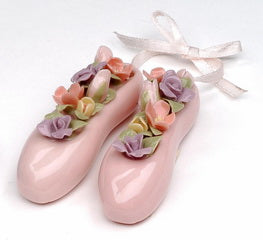 Porcelain Pink Ballet Slippers with Pastel Flowers - Nutcracker Ballet Gifts