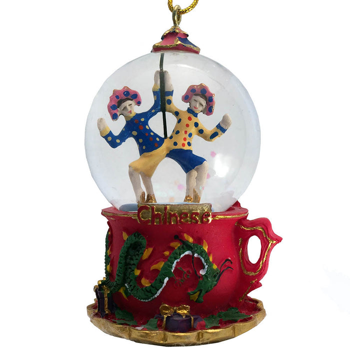 Mini Chinese Dancers Snow Globe Ornament - Nutcracker Ballet Gifts