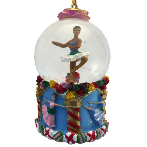 Mini African American Flower Dancer Snow Globe Ornament - Nutcracker Ballet Gifts