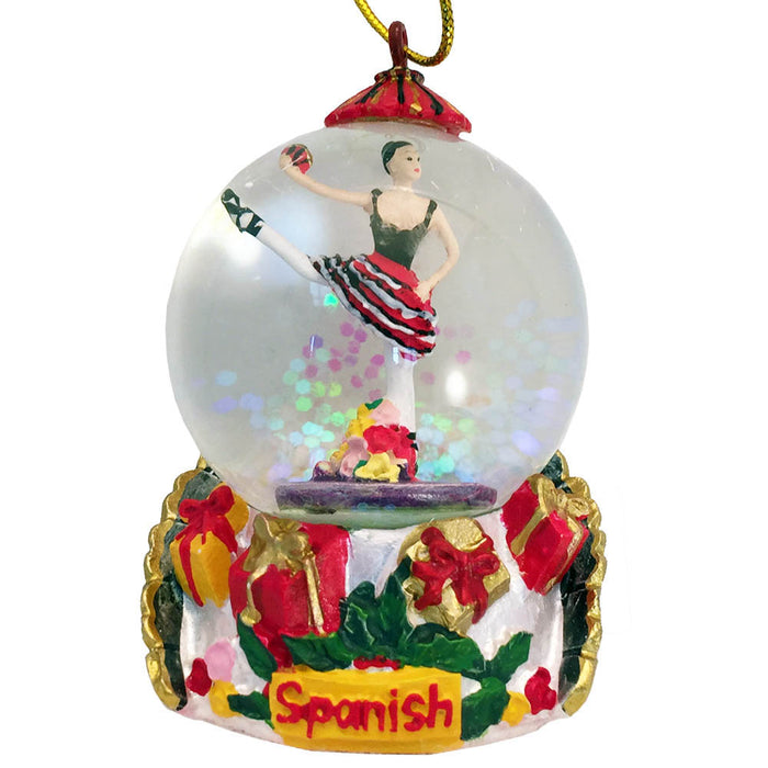 Mini Spanish Dancer Red Dress Snow Globe Ornament - Nutcracker Ballet Gifts