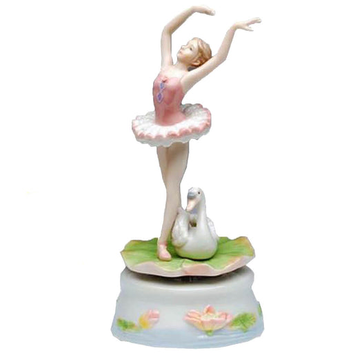 Porcelain Turning Ballerina with Swan Music Box and Plays Swan Lake - Nutcracker Ballet Gifts