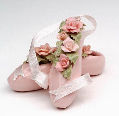 Porcelain Pointe Ballet Slippers with Pastel Flowers 2 inch - Nutcracker Ballet Gifts