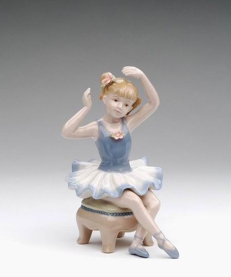 Porcelain Ballerina in Blue Dress Siting on Chair Figurine 5.5 inch - Nutcracker Ballet Gifts