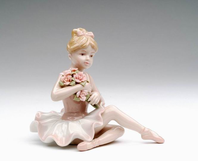 Porcelain Ballerina in Pink Dress Sitting Figurine 4 inch - Nutcracker Ballet Gifts