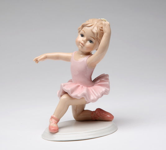 Porcelain Knee Down Ballet Girl in 3rd Pink Dress Figurine - Nutcracker Ballet Gifts