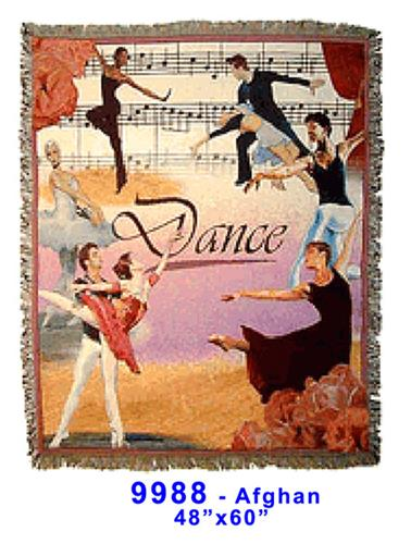 9988: Dance Coverlet 100% Cotton Afghan - Nutcracker Ballet Gifts