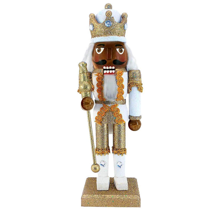 African American King Nutcracker Gold Metallic Glitter 10 Inch - Nutcracker Ballet Gifts
