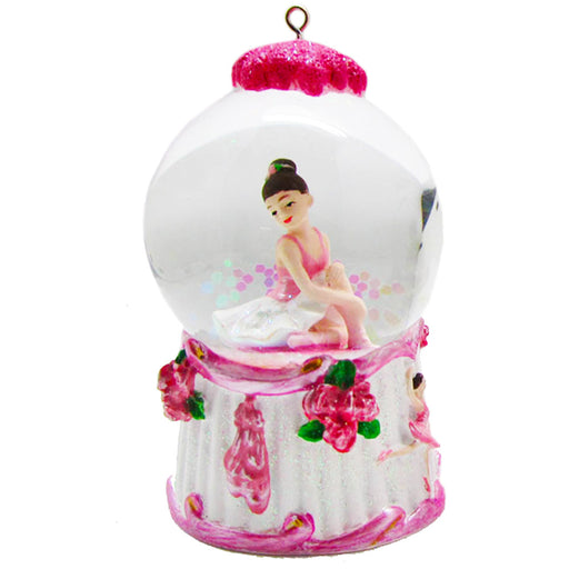 Mini Ballerina Pink and White Snow Globe Ornament - Nutcracker Ballet Gifts