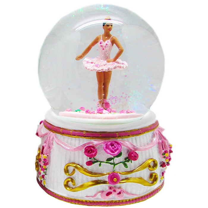 Musical African American Turning Ballerina Snow Globe 100mm - Nutcracker Ballet Gifts