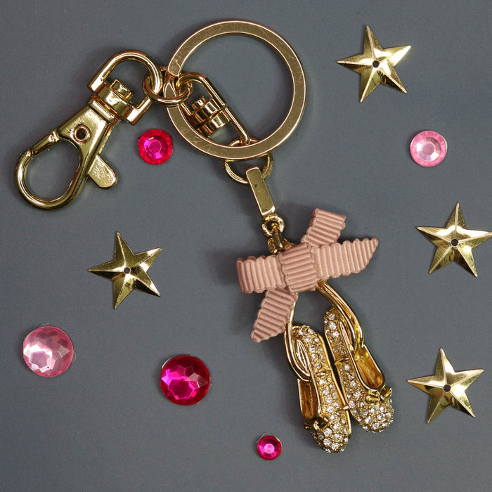Ballet Slippers in Gold with Rhinestones Key Chain - Nutcracker Ballet Gifts