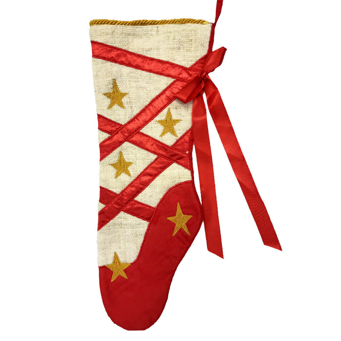 Christmas Ballet Stocking with Red Ribbon and Gold Stars-Nutcracker Ballet Gifts