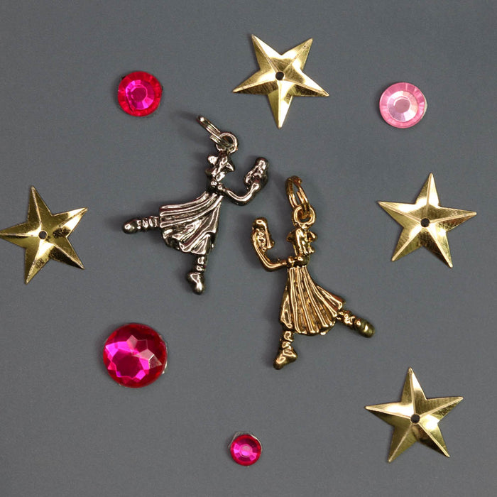 Dancing Clara with Nutcracker in Silver or Gold Charm for Bracelet - Nutcracker Ballet Gifts
