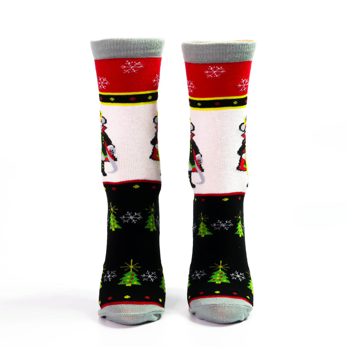 Classic Mouse King Holiday Background Black White and Red Sock