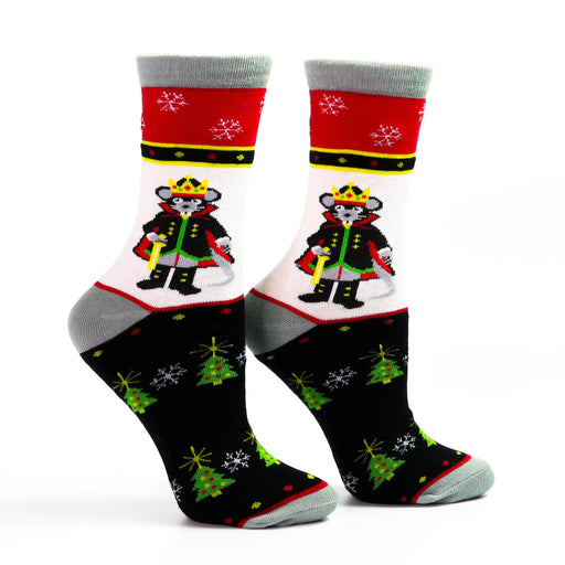 Classic Mouse King Holiday Background Black White and Red Sock - Nutcracker Ballet Gifts