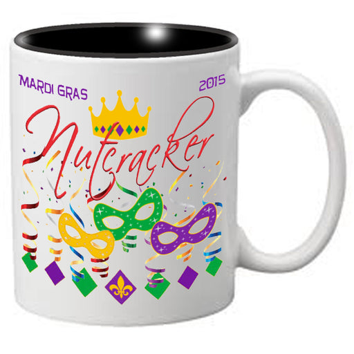 Nutcracker Ballet Mug - Mardigras1 - 3 Masks, Confetti and Crown - Nutcracker Ballet Gifts