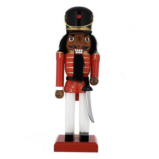 African American Soldier Nutcracker Red White Black Hat 10 inch - Nutcracker Ballet Gifts