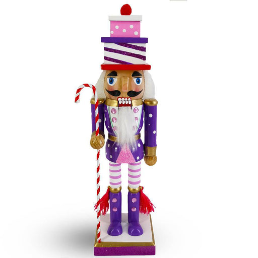 Candy Cane Nutcracker Purple Pink White with Gift Hat 10 inch - Nutcracker Ballet Gifts