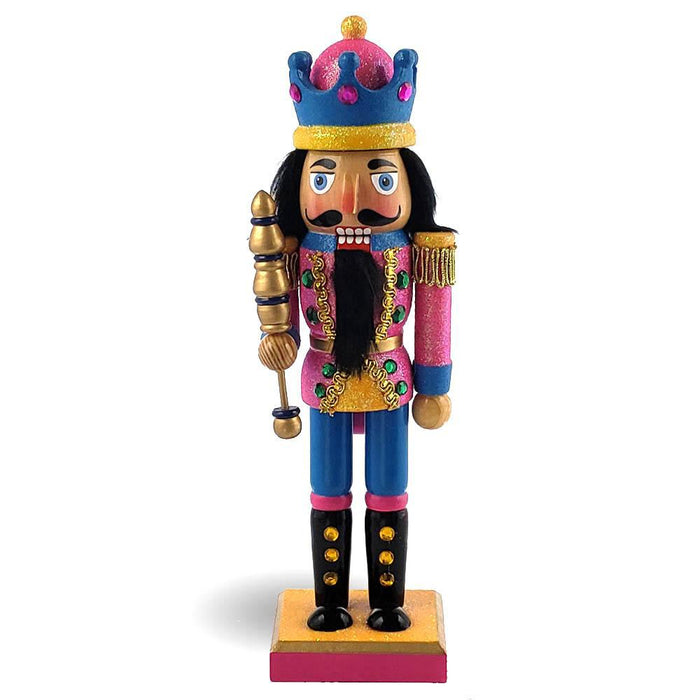 King Nutcracker Glitter Blue in Pink Jacket with Crown 10 Inch - Nutcracker Ballet Gifts