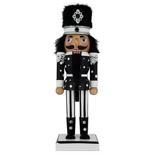 Soldier Nutcracker Black White Polka Dots Fur Hat 10 inch - Nutcracker Ballet Gifts