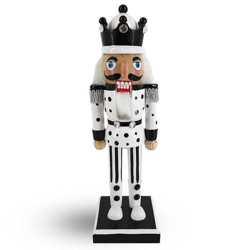 King Nutcracker White Black Polka Dots and Black Crown 10 inch - Nutcracker Ballet Gifts