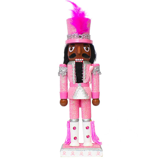 African American Breast Cancer Support Soldier Nutcracker Pink 10 inch-Nutcracker Ballet Gifts