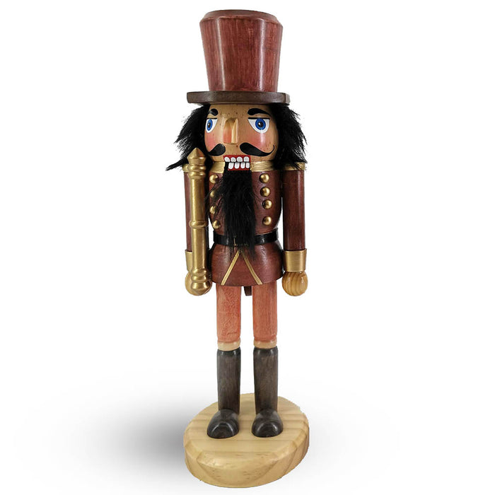 Woodsman Soldier Nutcracker Wood Grain with Staff 10 inch - Nutcracker Ballet Gifts