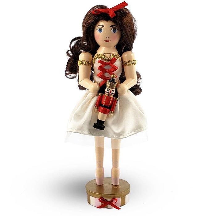 Clara Nutcracker in Cream Tulle and Red Bow on pointe 10 Inch - Nutcracker Ballet Gifts