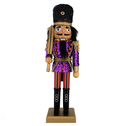Soldier Nutcracker Sequin Jacket Purple Red with Hat 12 inch - Nutcracker Ballet Gifts