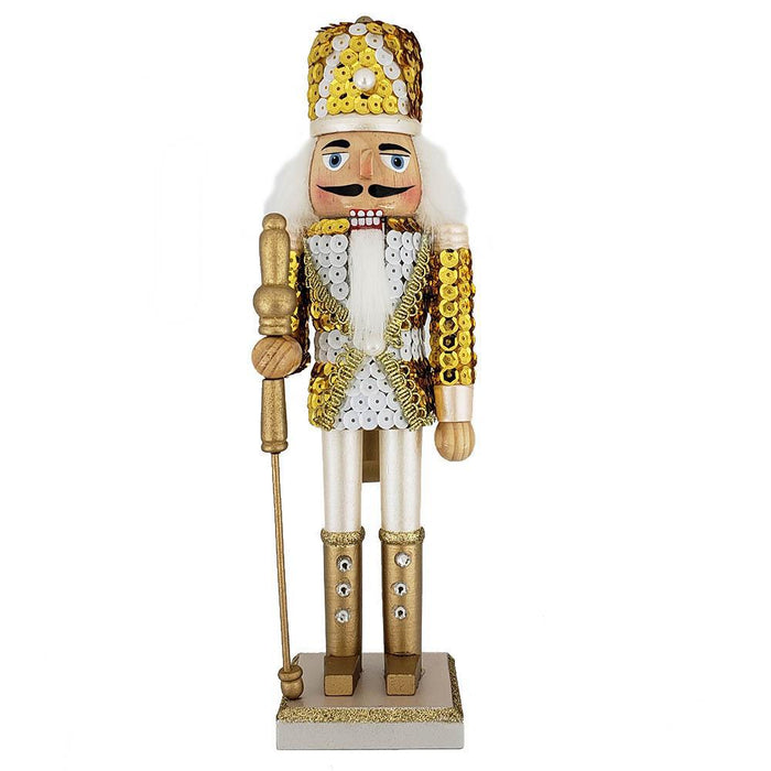 Soldier Nutcracker Sequin Jacket Gold White with Hat 12 inch - Nutcracker Ballet Gifts