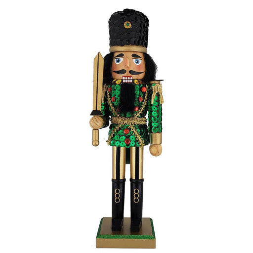 Soldier Nutcracker Sequin Jacket Green Gold with Hat 12 inch - Nutcracker Ballet Gifts