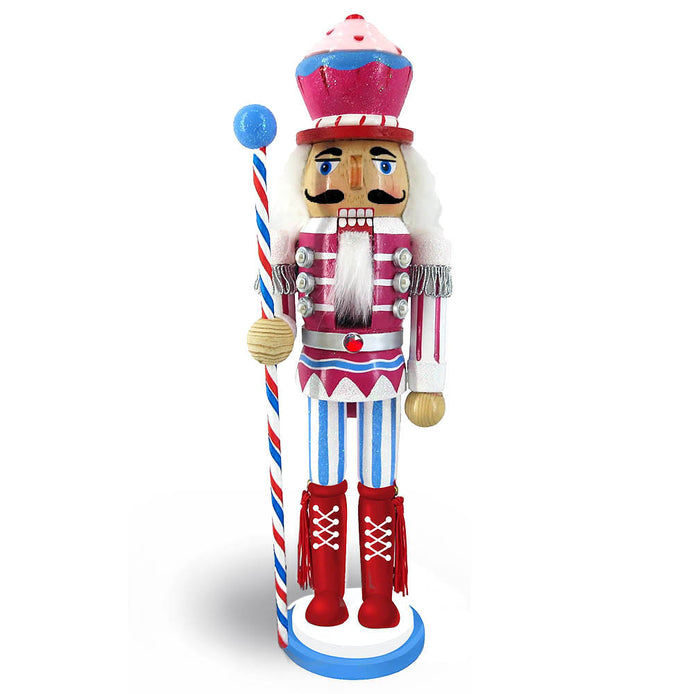 Candy Cane Nutcracker Pink and Teal with Cupcake Hat 12 inch - Nutcracker Ballet Gifts