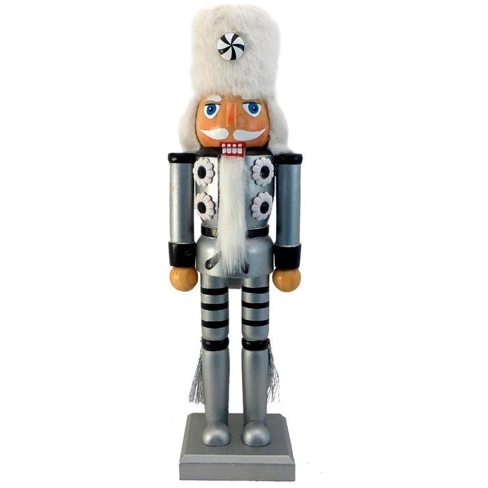 Soldier Nutcracker Silver and Black with Fur Hat and Tassels 12 inch - Nutcracker Ballet Gifts