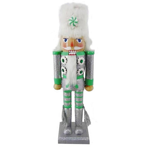 Soldier Nutcracker Silver and Green with Fur Hat and Tassels 12 inch - Nutcracker Ballet Gifts