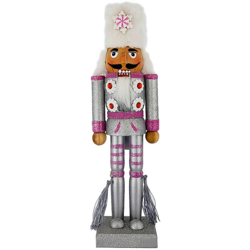 Soldier Nutcracker Silver and Pink Glitter with Fur Hat 12 inch-Nutcracker Ballet Gifts