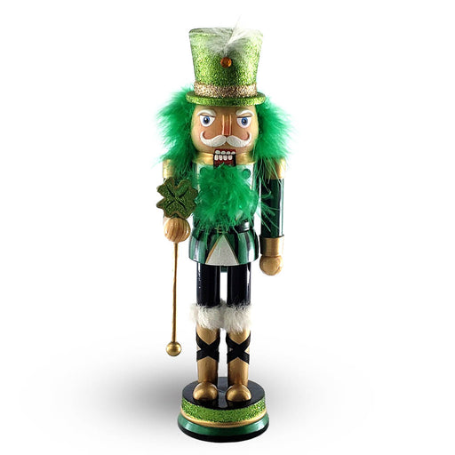 St Patricks Day Nutcracker Glitter Green Four Leaf Clover 12 inch - Nutcracker Ballet Gifts