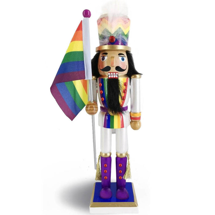 Soldier Pride Nutcracker in Rainbow Colors Waving Rainbow Pride Flag 12 inch - Nutcracker Ballet Gifts