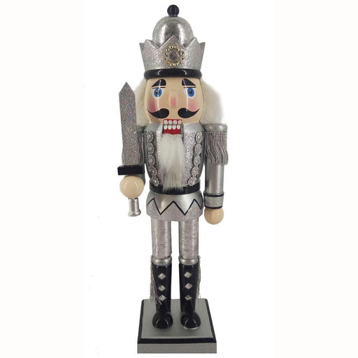 King Nutcracker Silver Anniversary with Crown and Sword 12 inch - Nutcracker Ballet Gifts