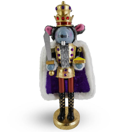 Mouse King Nutcracker in Gold Leaf and Purple Cape 14 Inch - Nutcracker Ballet Gifts