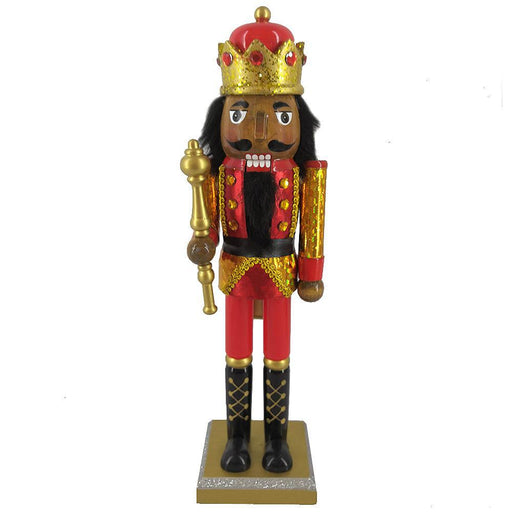 African American King Nutcracker in Red Gold Hologram 14 Inch - Nutcracker Ballet Gifts