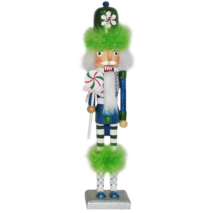 Candy Cane Nutcracker Slim Pink Blue Green Jacket Fur Hat 14 inch - Nutcracker Ballet Gifts