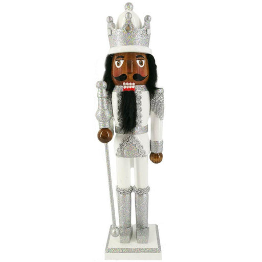 African American King Nutcracker Silver and White with Crown 15 inch - Nutcracker Ballet Gifts