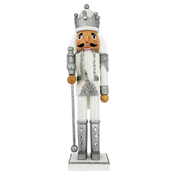King Nutcracker Silver and White Glitter and Crown 15 inch - Nutcracker Ballet Gifts