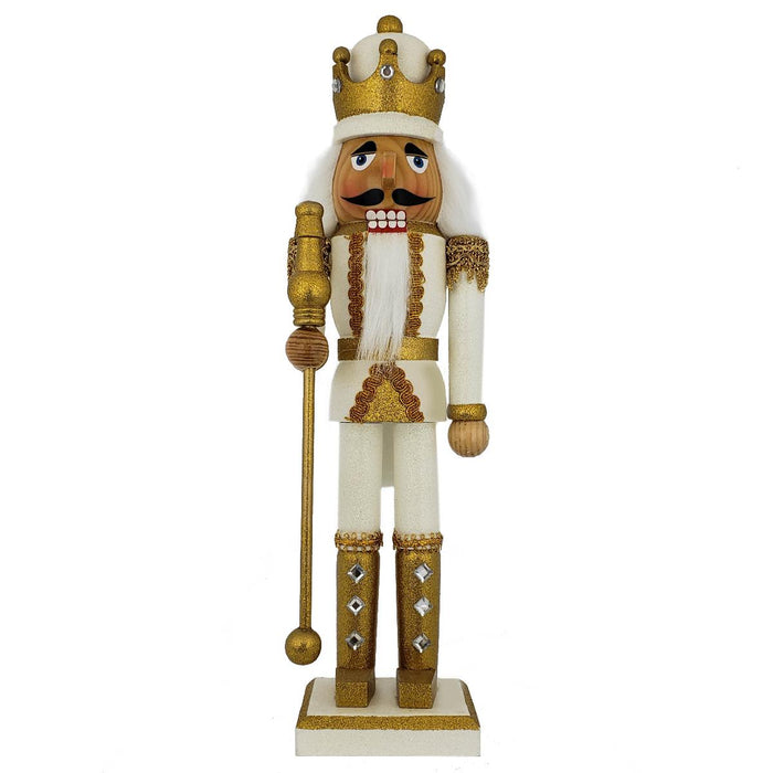 King Nutcracker Gold and White Glitter and Crown 15 inch - Nutcracker Ballet Gifts