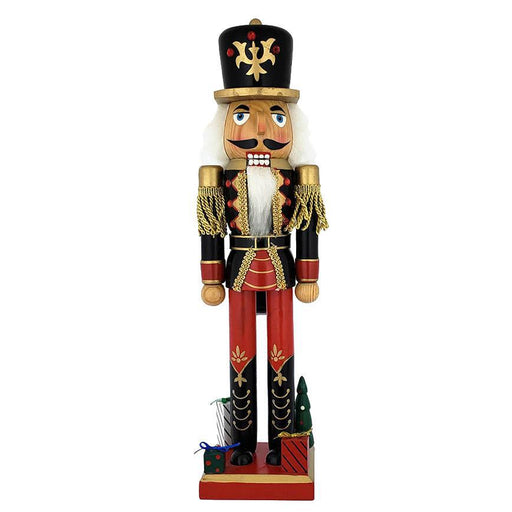 Soldier Nutcracker Black and Red with Gifts on Base 15 inch - Nutcracker Ballet Gifts