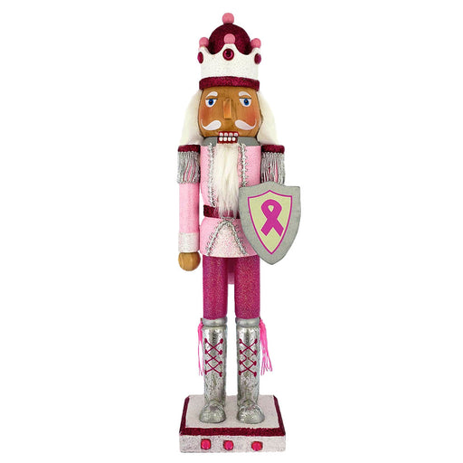 Breast Cancer Support King Nutcracker Pink with Ribbon 15 inch - Nutcracker Ballet Gifts