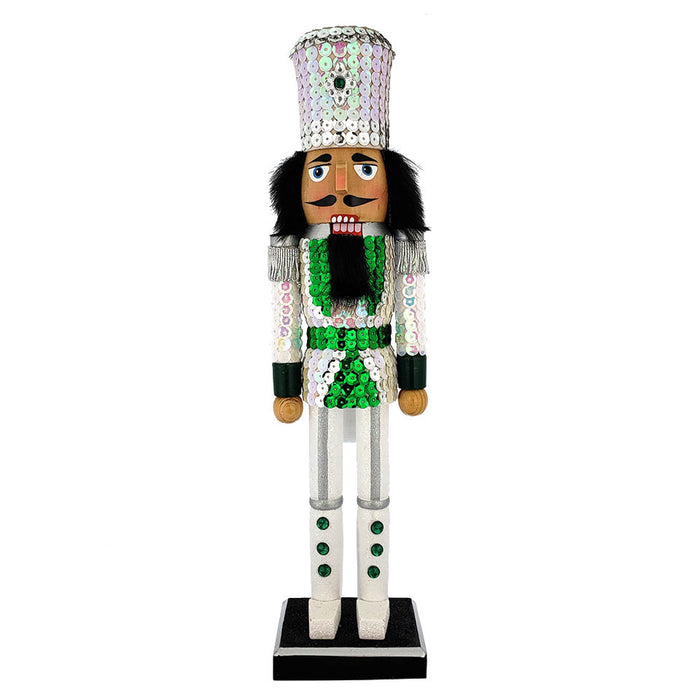 Soldier Sequin Nutcracker White Green Jacket and Top Hat 15 inch - Nutcracker Ballet Gifts