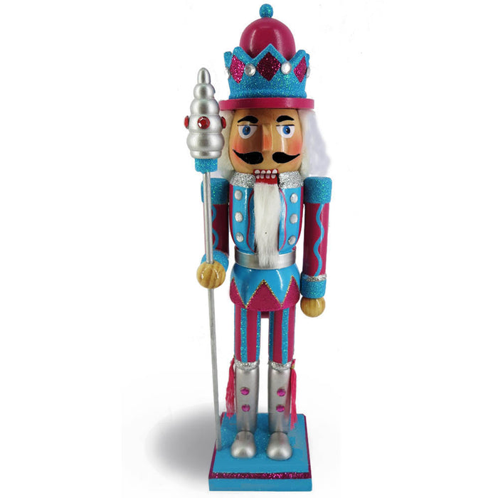 King Nutcracker Teal Magenta Glitter Jacket Crown and sceptre15 inch - Nutcracker Ballet Gifts